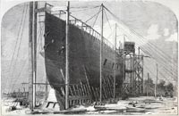 """Bow of the Leviathan (""Great Eastern"") steam-ship during time of building"""
