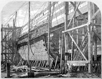 """The Great Eastern during its construction"""
