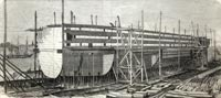 """The Great Eastern steamship building on the stocks, Millwall, 22,500 tons buren. – from a photograph in the possession of Mr. Scott Russell"""